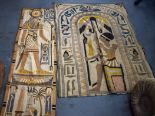 Lot 2600D - TWO EGYPTIAN EMBROIDERYS, one depicting the god Horus. 120 cm x 88 cm.