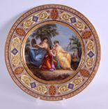 Lot 103 - A GOOD 19TH CENTURY VIENNA PORCELAIN CABINET PLATE painted with three classical females within a