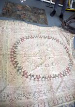 Lot 2293 - A VINTAGE EASTERN EMBROIDERED PANEL, together with another. Largest 220 cm x 180 cm.