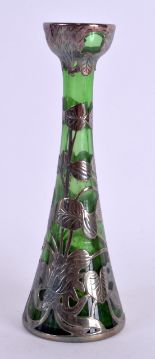 Lot 10 - A LOVELY ART NOUVEAU SILVER OVERLAID GREEN GLASS VASE. 16 cm high.