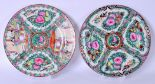 Lot 2411 - A LARGE PAIR OF EARLY 20TH CENTURY CHINESE FAMILLE ROSE CANTON ENAMEL PORCELAIN PLATES, painted with