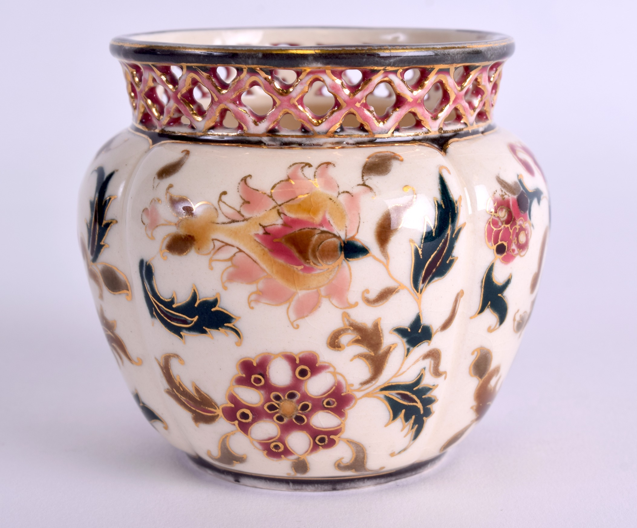 Lot 68 - A SMALL HUNGARIAN ZSOLNAY PECS VASE decorated with flowers. 7.5 cm x 7 cm.