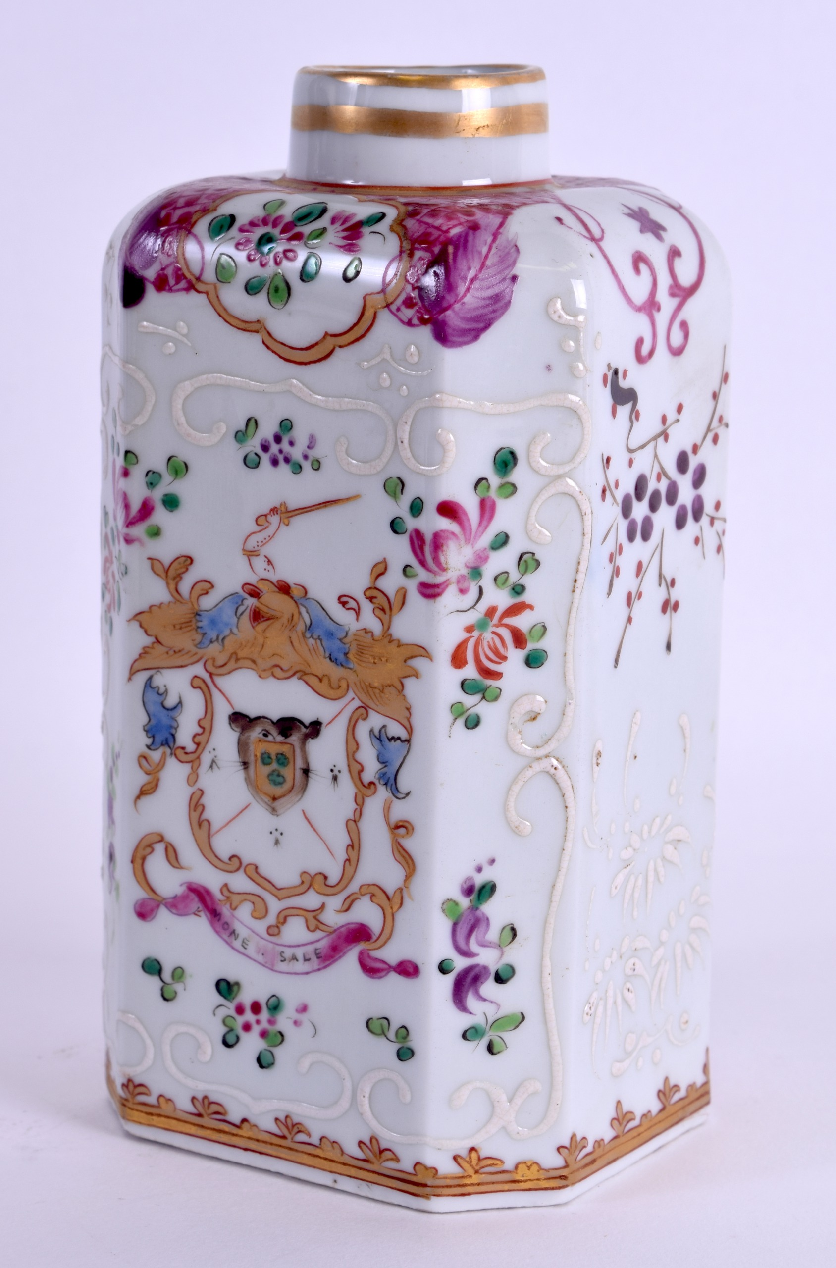 Lot 101 - A 19TH CENTURY FRENCH SAMSONS OF PARIS TEA CANISTER painted with armorials in the Chinese Export