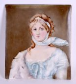 Lot 71 - A LARGE LATE 19TH CENTURY GERMAN PORCELAIN PLAQUE painted with a female wearing blue robes. 16.5