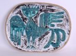 Lot 107 - A LARGE 1950's RETRO STONEWARE POTTERY DISH in the manner of Picasso, decorated with a bold winged