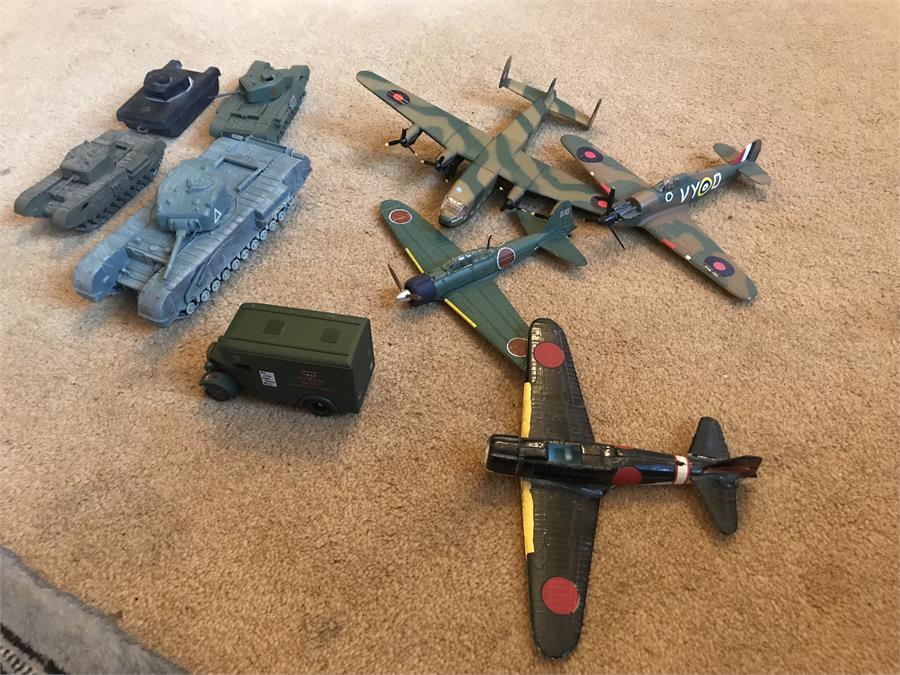 Lot 41 - Various Toy Aeroplanes and Tanks including Corgi - hurricane and Corgi - Avro York and Corgi Churchi