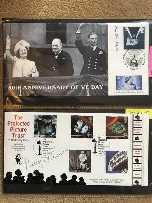 Lot 15 - 4 x signed first day covers including 50th Anniversary of VE Day