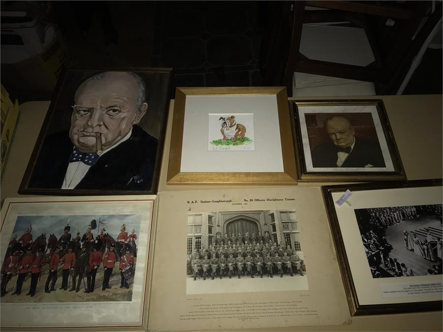 Lot 83 - 6 x Pictures including Churchill Oil On Board