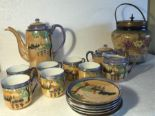 Lot 30 - Japanese coffee service together with Carlton Ware biscuit barrel