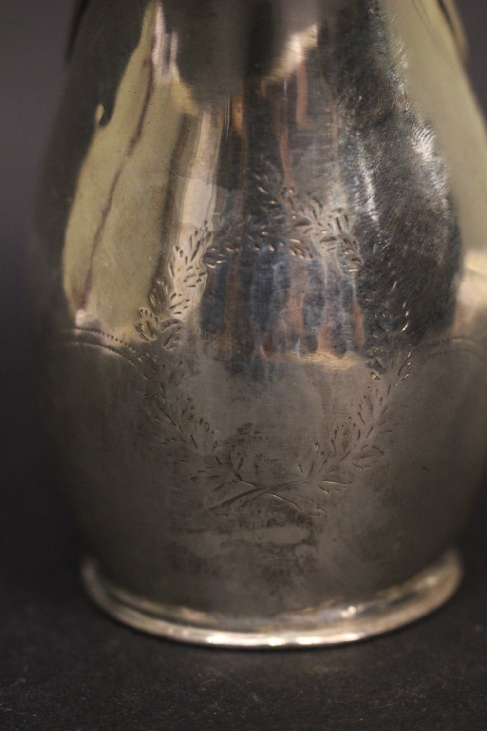 Lot 15 - A VERY EARLY 19TH CENTURY SILVER JUG Sheffield ware, date letter crown over M for 1802/03, with lion