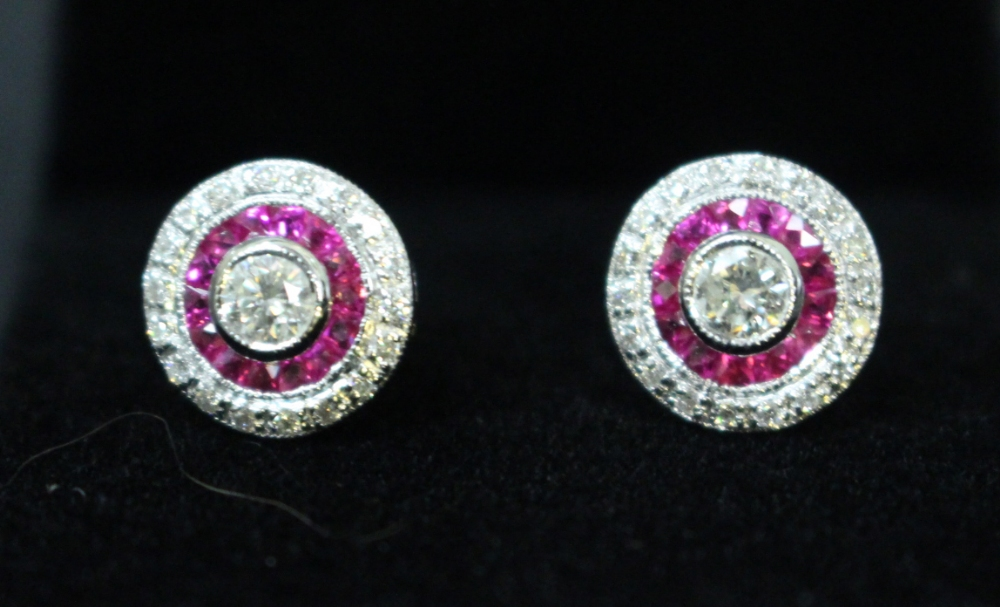 """Lot 36 - A PAIR OF 18CT WHITE GOLD RUBY & DIAMOND, """"target"""" earrings, art deco style"""