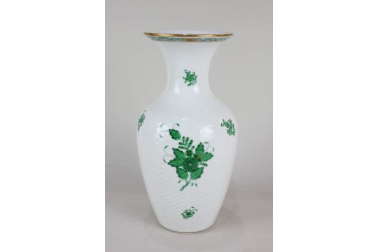 A Herend Hungarian Porcelain Baluster Vase In The Green Chinese