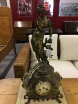 "Lot 27 - Clocks: Late 19th cent. French mantel clock ""Peureuse"" signed C.H. Vely, gilt spelter figure of a"