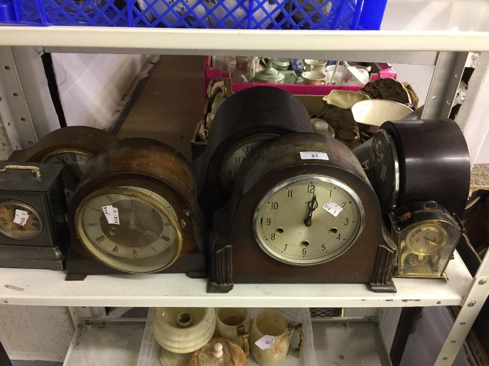 Lot 21 - Clocks: 20th cent. Oak, mahogany & Bakelite cased mantel clocks, Smiths etc. (7 in total).