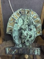 Lot 18 - 19th cent. & later metal work and objects of past times. School oak framed slate and lead, copper '