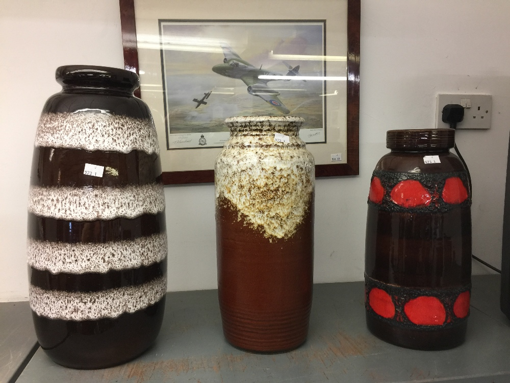 Lot 48 - 20th cent. Art Ceramics: Three West German vases, brown ground with mottled slipware glaze 16ins.