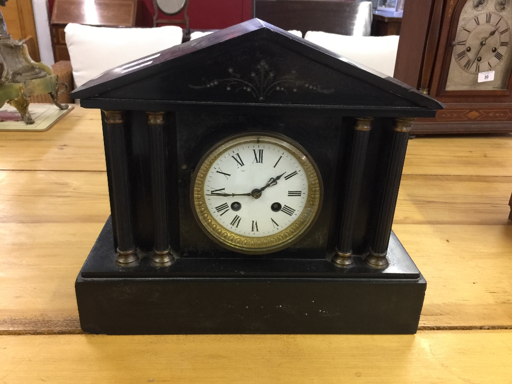 Lot 29 - 19th cent. French marble mantel clock, the movement stamped Marti.