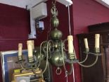 Lot 6 - 20th cent. Lighting: Brass eight branch chandelier. Three central orbs and crowned with two