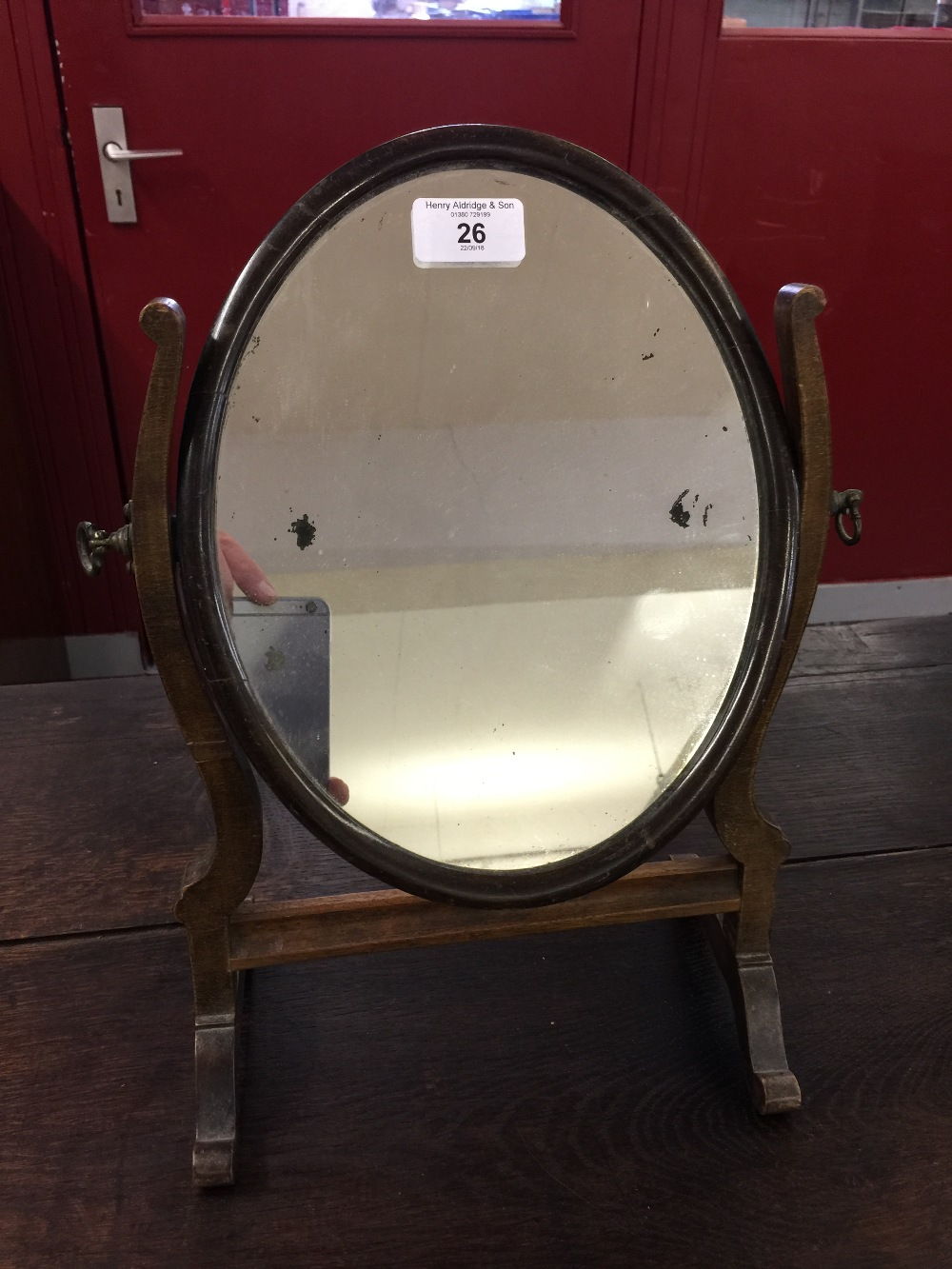Lot 26 - Early 20th cent. Mahogany gentleman's shaving mirror. Swing frame, small proportions. 11ins. x 8¾