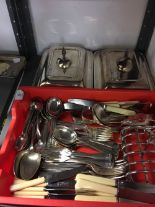 Lot 57 - 19th & 20th cent. Plated Ware: Toast rack (6 slices), muffin tongs, sugar nips, sauce ladles,