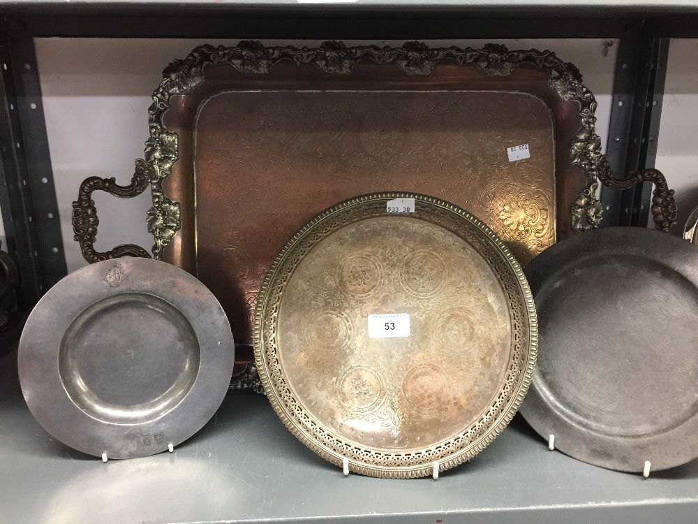 Lot 53 - 18th cent. & later Pewter and Plated Ware: Plated two handled tray 25½ins. x 15½ins. A salver,