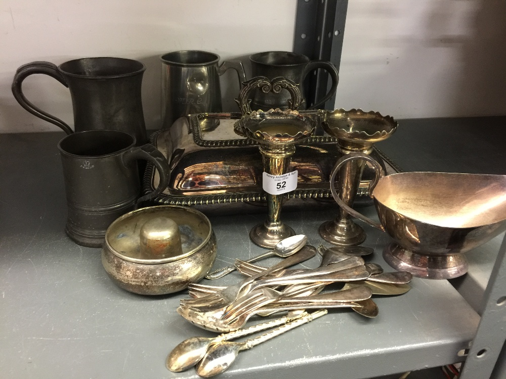 Lot 52 - 19th cent & later Pewter and Plated Ware: Including tankards, tureens, flatware, etc.