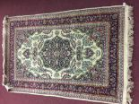 Lot 43 - Mid 20th cent. Hand weave Tabriz carpet, large central medallion and is repeated quartered at the