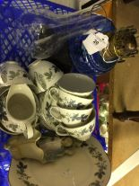 Lot 20 - 19th cent. Oil Lamp: Cast iron base, blue glass reservoir and flu 20ins. Royal Doulton teaset '