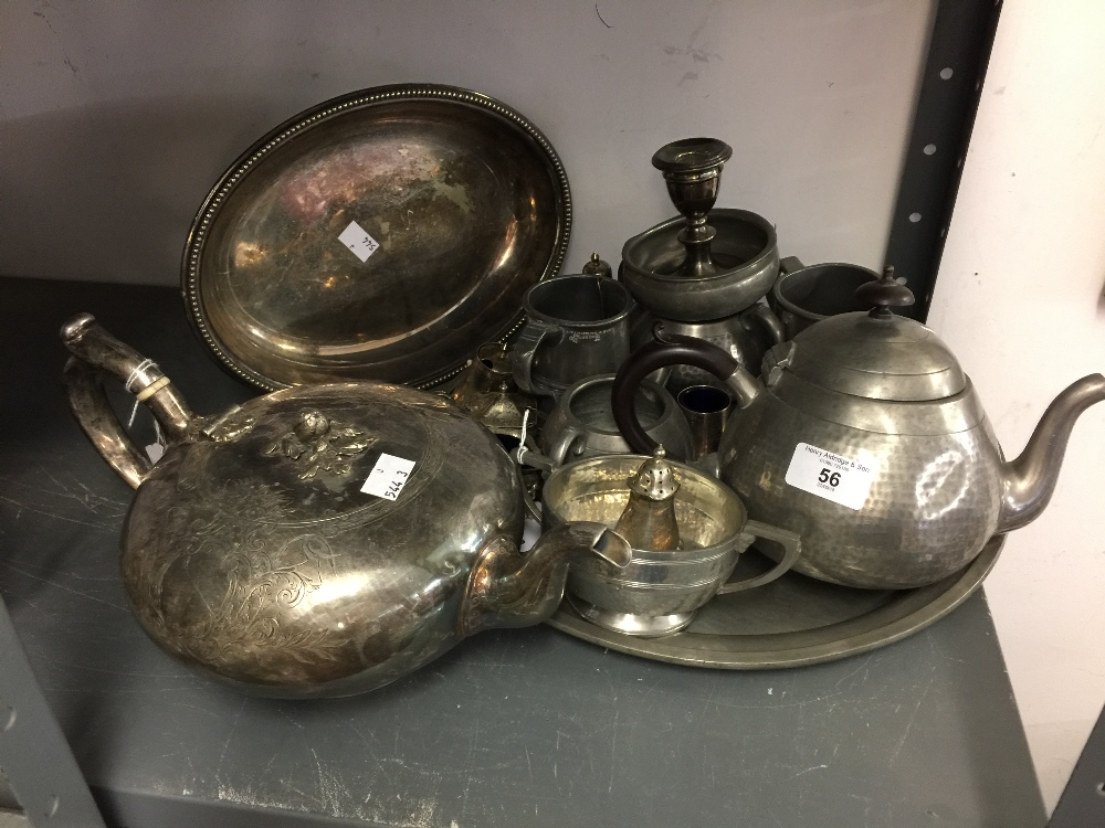Lot 56 - Plated and Pewter Ware: Tea service with tray, tankards, salt spoons, etc.