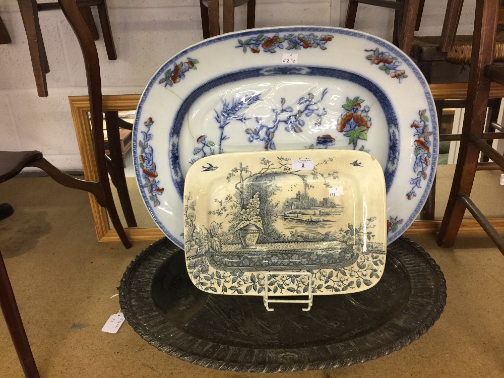 Lot 8 - 19th cent. Ceramics: Copeland meat oval with drainer, oriental style floral decoration 2¼ins. x