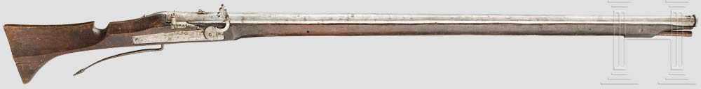 Lot 48 - Militärische Luntenschlossmuskete, Nürnberg, um 1620 Achtkantiger, leicht konischer Lauf, glatte