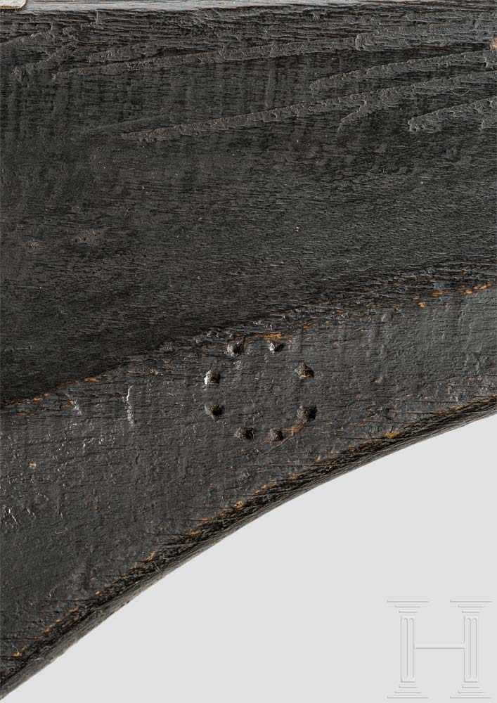 Lot 49 - Militärische Luntenschlossmuskete, Suhl, um 1620 Achtkantiger, in rund übergehender Lauf mit glatter