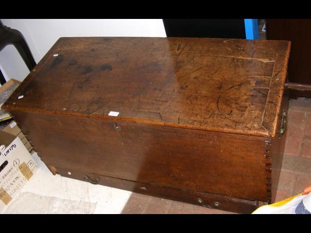 Lot 33 - Antique blanket chest with drawer to base