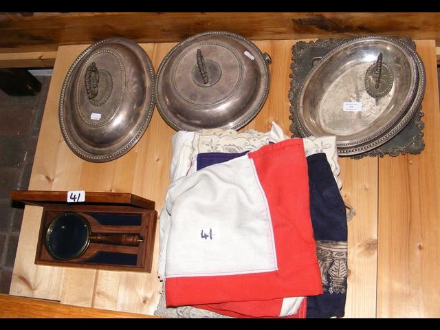 Lot 41 - Silver plated entree dishes, flags, etc.