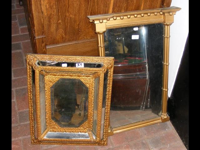 Lot 39 - Antique wall mirror and one other