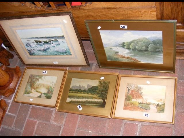 Lot 48 - Selection of watercolours - various scenes