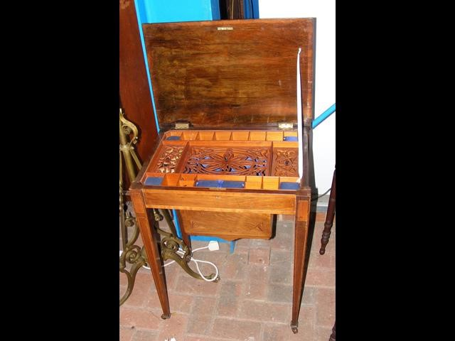 Lot 31 - Antique worktable with fitted interior