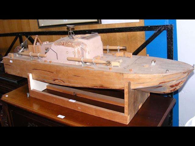 Lot 17 - A part finished model - Naval Gunboat - 130cm long