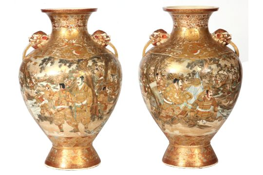A Large160pair Of Late 19th Century Signed Japanese Satsuma Vases