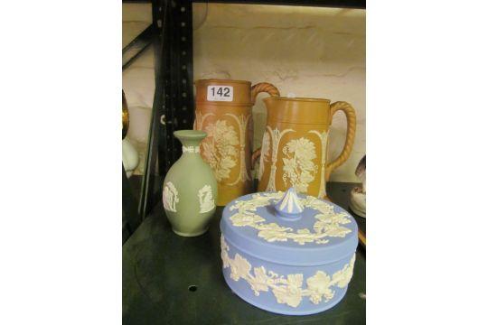 A Wedgwood Blue Jasperware Lidded Dish Green Jasperware Vase And