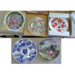 (5) decorative plates-Wedgewood Train Scene 'Over the Canal No.13140A-Franklin plate No.43414-'
