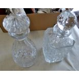 Crystal Decanters(2)-Square in excellent condition - and stoppers no maker mark