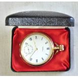Watch - Gold Plated 10ct Watch, Watham Traveller USA Case by Denison. Good working order, early 20th