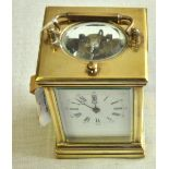 Clock - Brass Carriage clock 12cms, not working, needs a clean enamel damage to the dial, no key.