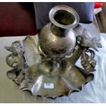 Centre Piece - Large White Metal Table Centre - piece late Victorian, eye catching