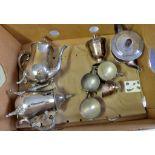 Silver plated - tea sets with milk jugs, sugar bowls, need polish