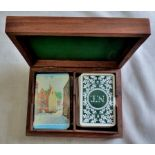 Delightful card holder box wood with two sets of cards