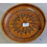 Wooden Dish Teak - with decorative pattern
