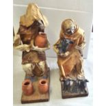 Paper Mache Figures - Old lady with Pigs & Old Man with Jugs - beautifully made (Handmade Bookends)