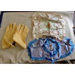 Kid leather gloves with (2) sweetheart handkerchiefs in excellent condition